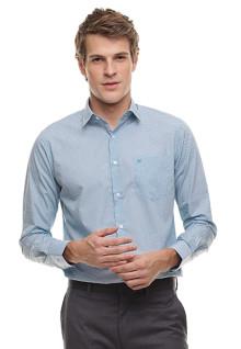 Regular Fit - Kemeja Formal - Lengan Panjang - Bertekstur - Biru