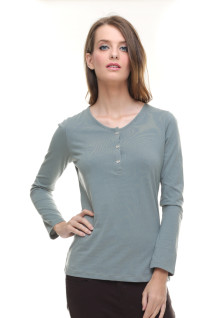 Regular Fit - Kaos Wanita - Lengan Panjang - Kancing - Abu