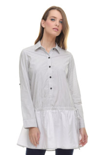 Regular Fit - Kemeja Wanita - Dress - Salur Halus - Abu