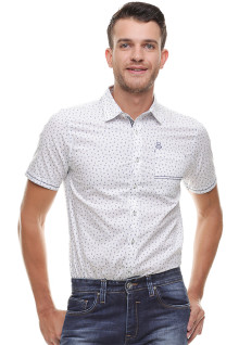 Slim Fit - Kemeja Casual - Model Polkadot - Putih