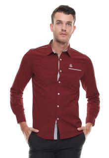 Slim Fit - Kemeja Casual - Lengan Panjang - Merah