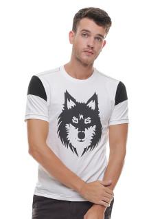 Slim Fit - Kaos Casual - Wolf Printing - Putih