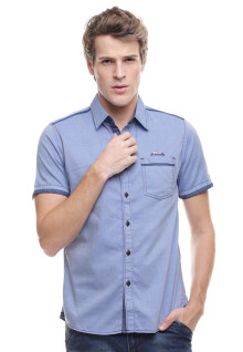 Slim Fit - Kemeja Fashion - Semi Denim - Biru