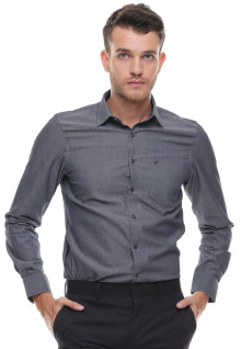 Slim Fit - Kemeja Formal - Lengan Panjang - Abu
