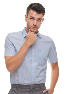 Slim Fit - Kemeja Formal - Motif Polos - Lengan Pendek - Biru