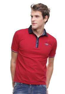 Slim Fit - Kaos Polo - Kerah Tinggi - Logo Dada - Merah