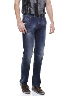 Slim Fit - Jeans Panjang - Whisker - full Washed - Biru