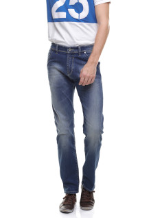 Slim Fit - Jeans Panjang - Soft Whisker - Washed - Biru