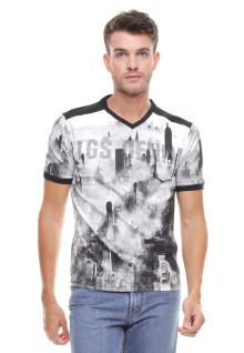 Slim Fit - Kaos Fashion - Kerah Vneck - Motif Gedung - Putih