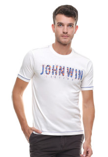 Slim Fit - Kaos Casual - Logo Johnwin - Putih
