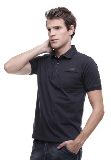 Regular Fit - Kaos Polo Casual - Kantong Tempel - Hitam