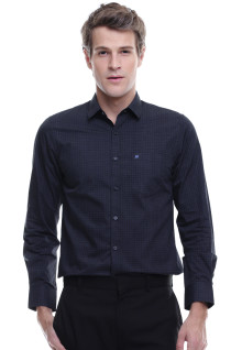 Slim Fit - Kemeja Formal - Lengan Panjang - Polkadot - Dark Navy