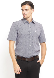 Slim Fit - Kemeja Formal - Print Pattern - Short Sleeve - Abu