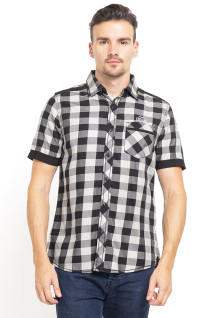 Slim Fit - Kemeja Fashion - Plaid - Hitam