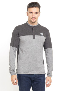 Slim Fit - Kaos henley- Kerah Shanghai - Color Block - Abu