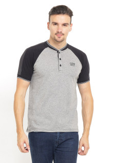 Slim Fit - Kaos Henley - Ribbed Cuff - Abu