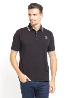 Slim Fit - Kaos Polo - Logo LGS - Tiga Kancing - Contrast Collar - Hitam
