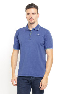 Slim Fit - Kaos Polo - Ribbed Cuff - Stripe Collar - Biru
