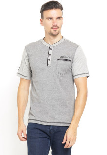Regular Fit - Kaos Henley - Contrast Collar - Abu