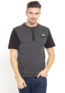 Regular Fit - Kaos Henley - Tiga Kancing Placket - Abu