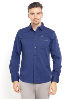 Slim Fit - Kemeja Casual - Stripe Pocket - Biru