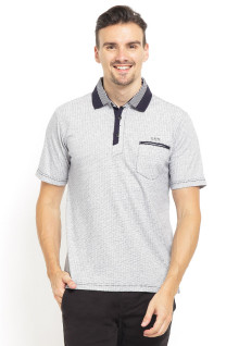 Regular Fit - Polo Shirt - Stripe Collar - Kancing Placket - Abu