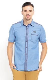 Slim Fit - Kemeja Fashion - Single Pocket - Biru