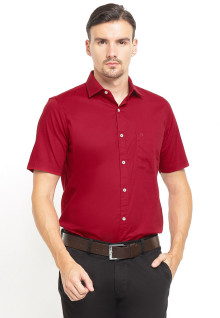Slim Fit - Kemeja Formal - Lengan Pendek - Merah
