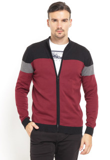 Sweater Pria - Full Zipper - Ribbed Cuff - Merah