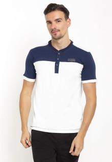 Slim Fit - Henley Shirt - Logo Dada - Placket Biru - Putih