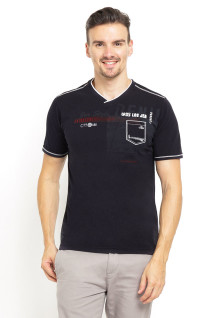 Slim Fit - Kaos Fashion - Kerah Vneck - Hitam
