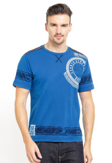 Slim Fit - Kaos Fashion - Gambar Sablon - Biru