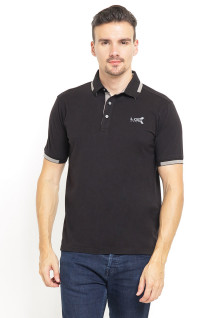 Slim Fit - Kaos Polo - Ribbed Cuff - Cotrast Collar - Hitam