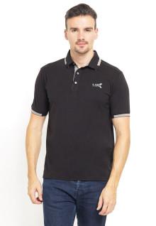 Slim Fit - Kaos Polo - Ribbed Cuff - Cotrast Collar - Hitam