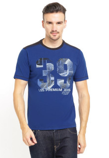 Slim Fit - Printed Tee - Sablon Premium Jeans - Biru