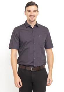 Slim Fit - Kemeja Formal - Print Pattern - Lengan Pendek - Abu