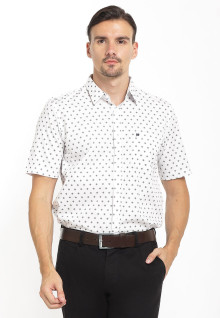 Slim Fit - Kemeja Formal - Polkadot - Putih