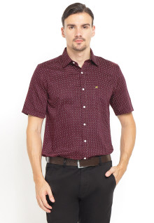 Slim Fit - Kemeja Formal - Polkadot - Logo Dada - Merah