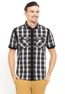 Slim Fit - Kemeja Fashion - Flanel - Hitam