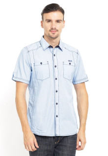 Slim Fit - Kemeja Fashion - Double Pocket - Biru