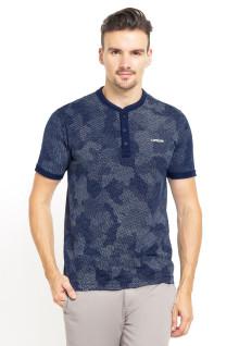 Slim Fit - Kaos Henley - Gambar Penuh - Motif Camouflage - Biru