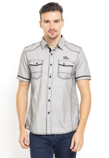 Slim Fit - Kemeja Fashion - Double Pocket - Abu