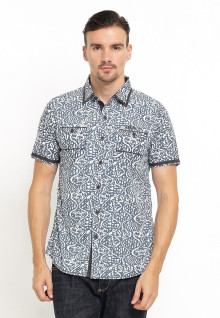Slim Fit - Kemeja Fashion - Motif Batik - Abu
