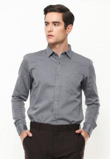 Slim Fit - Kemeja Formal - Lengan Panjang - Kantong Satu - Abu
