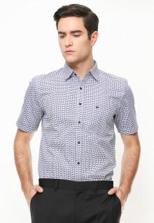 Slim Fit - Kemeja Formal - Print Pattern - Lengan Pendek - Putih