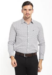 Slim Fit - Kemeja Formal - Print Pattern - Putih