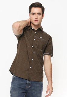 Slim Fit - Kemeja Casual Active - Printed - Coklat