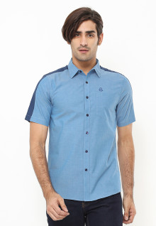 Slim Fit - Kemeja Casual Active - Two Tone Color - Biru