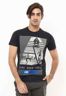 Slim Fit - Kaos Youth - Burn Your Soul - Hitam