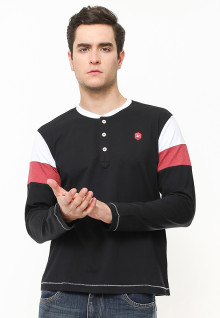 Slim Fit - Kaos Casual Active - Lengan Panjang - Kancing Placket - Hitam